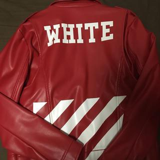 オフホワイト(OFF-WHITE)のoff-whiteレザージャケット 赤(レザージャケット)