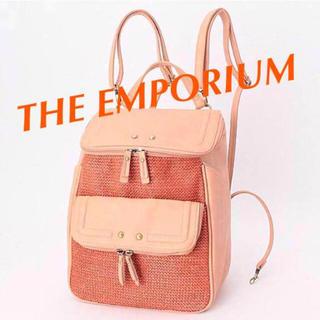 ジエンポリアム(THE EMPORIUM)の外ポケット充実 カードホルダーストラップ付き リュック オレンジ(リュック/バックパック)