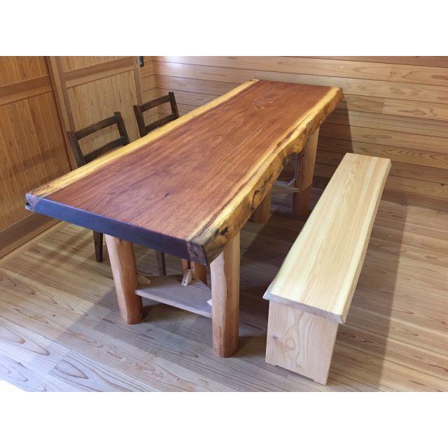 国産杉☆無垢のベンチ☆ロングsize インテリア/住まい/日用品の椅子/チェア(ダイニングチェア)の商品写真