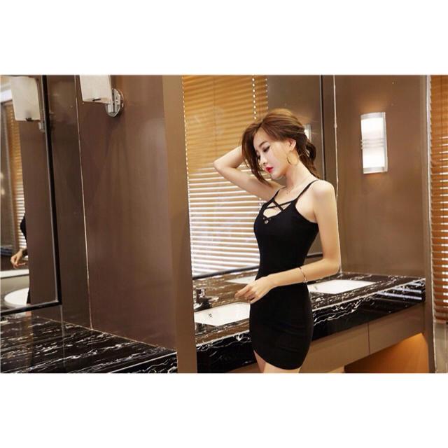 黒 キャミ ワンピ ドレス タイト クリスマス 結婚式 キャバ嬢 セクシー レディースのフォーマル/ドレス(ミニドレス)の商品写真