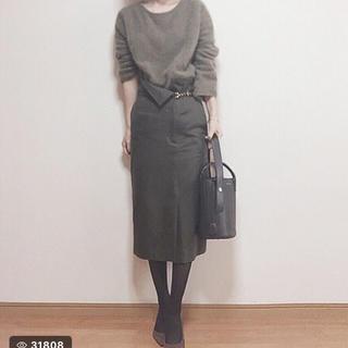 デミルクスビームス(Demi-Luxe BEAMS)のDemi-Luxe BEAMS ビームス ペンシルスカート カーキ 36(ひざ丈スカート)