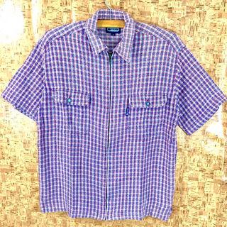 アウトドアプロダクツ(OUTDOOR PRODUCTS)のアウトドア OUTDOOR チェック ジップシャツ M  羽織  L 相当 半袖(シャツ)