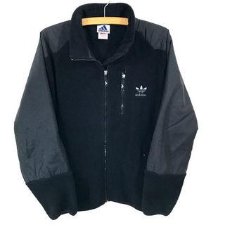 アディダス(adidas)の美品♪ アディダス ナイロン切り替 フリースジャケット 黒 L(ブルゾン)