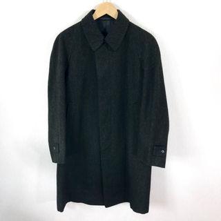上美品 ♪ テーラー仕立て  ツイード ステンカラーコート 濃い緑 M ~ L(ステンカラーコート)