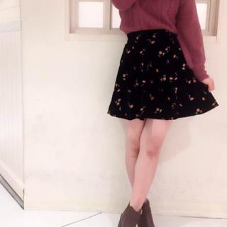 ワンアフターアナザーナイスクラップ(one after another NICE CLAUP)のナイスクラップ☆スエード刺繍スカート(ミニスカート)