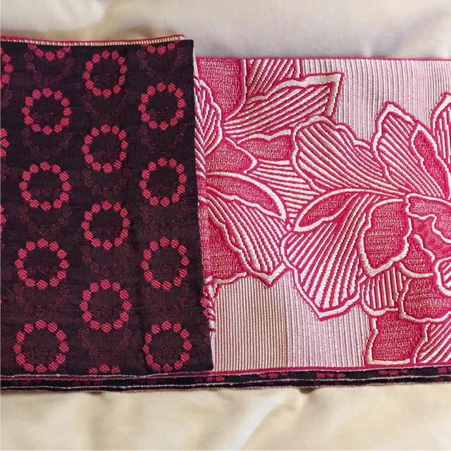 お買い得です!【新品未使用】4.4m 京紫織 長尺 半幅帯長め 赤 ピンク系 レディースの水着/浴衣(着物)の商品写真