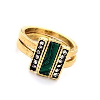 格安!ファラオの埋蔵品の様 Green&Goldの絶妙な組合せ リング 15号(リング(指輪))