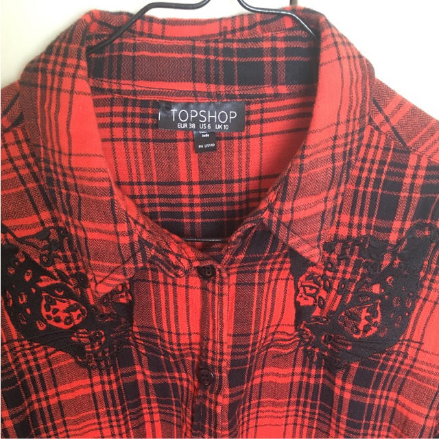 TOPSHOP(トップショップ)のTOPSHOP  チェックシャツ ショート丈 オレンジ レディースのトップス(シャツ/ブラウス(長袖/七分))の商品写真