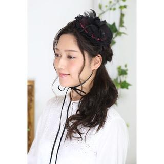 【新品、日本製】クラシカルなヘッドドレス♪*ピンク×ブラック(その他)