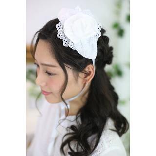 【新品、日本製】白薔薇のボンネ(ヘッドドレス)♡ウエディング♡甘ロリ(その他)