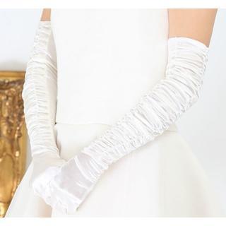 【新品】ウェディング ロング*グローブ オフホワイト(ウェディングドレス)
