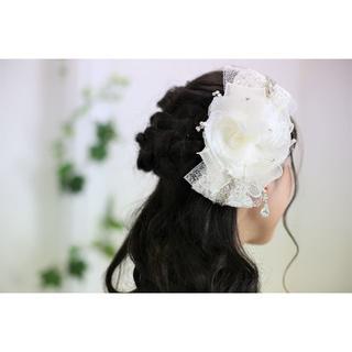 瑞季様専用ページ ローズ&リボンのヘッドドレス*ショール&コサージュ(ウェディングドレス)