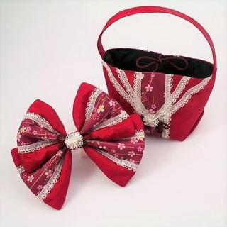 日本製*和柄のハンドバック&ヘッドドレスセット*赤*成人式・お茶会に(その他)