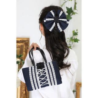 日本製*1点もの 和装ハンドバック&ヘッドドレス*紺×白*成人式・お茶会に(その他)