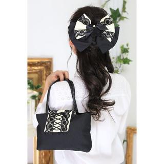 【新品、日本製】和装*バック&ヘッドドレス*黒×アイボリー*1点もの(その他)