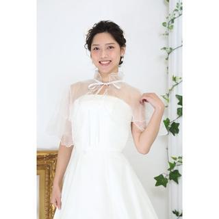 日本製*ウェディング用ケープ♡ホワイト*ふりふり首元フリル♡【sh-049】(ウェディングドレス)