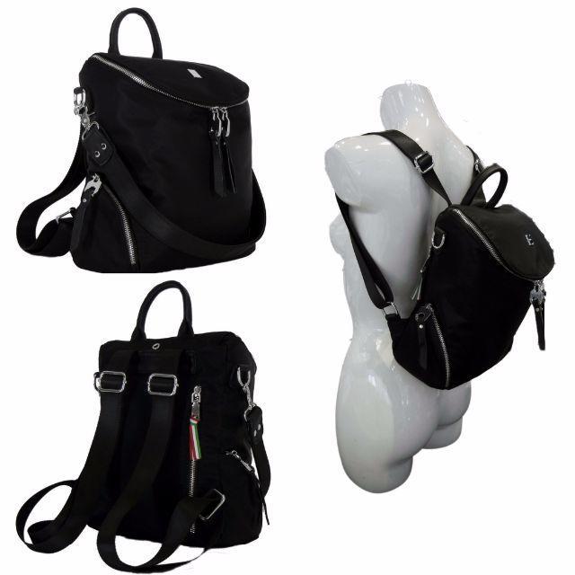 fade58207f55 リュック レディース ナイロンx本革 軽量 黒 2way セミスクエア NL1 レディースのバッグ(