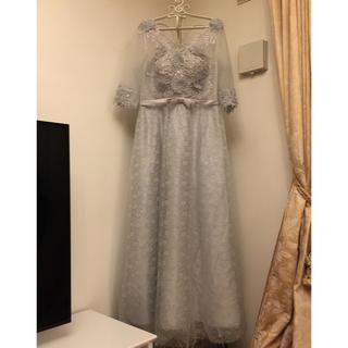 ロングドレス  新品 ブルーグレー ビジュー付(ロングドレス)