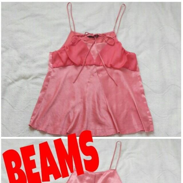 BEAMS(ビームス)のBEAMSサテン×シフォンキャミ☆ レディースのトップス(キャミソール)の商品写真