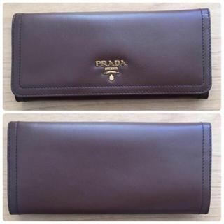 プラダ(PRADA)のPRADAプラダ☆長財布ウォレット☆新品ブラウンソフトレザー(財布)