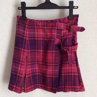 ジェーンマープル(JaneMarple)のJane Marple*オリジナルタータンチェック ミニスカート ピンク系(ミニスカート)
