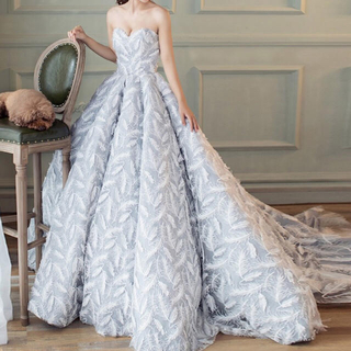 羽根のレース、薄いグレーウェディングドレス(ウェディングドレス)
