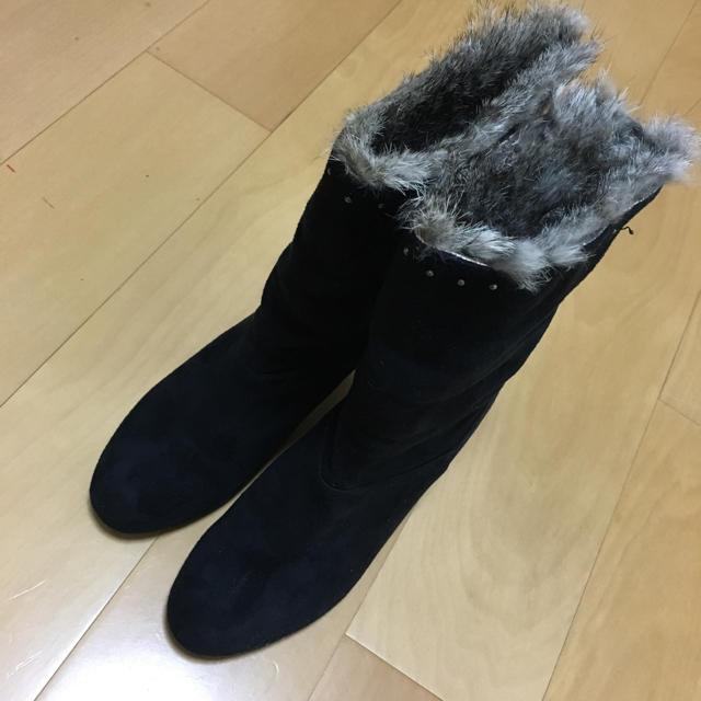 INDEX(インデックス)のindex◆ショートブーツ 美脚24cm 黒◆スウェード レディースの靴/シューズ(ブーツ)の商品写真