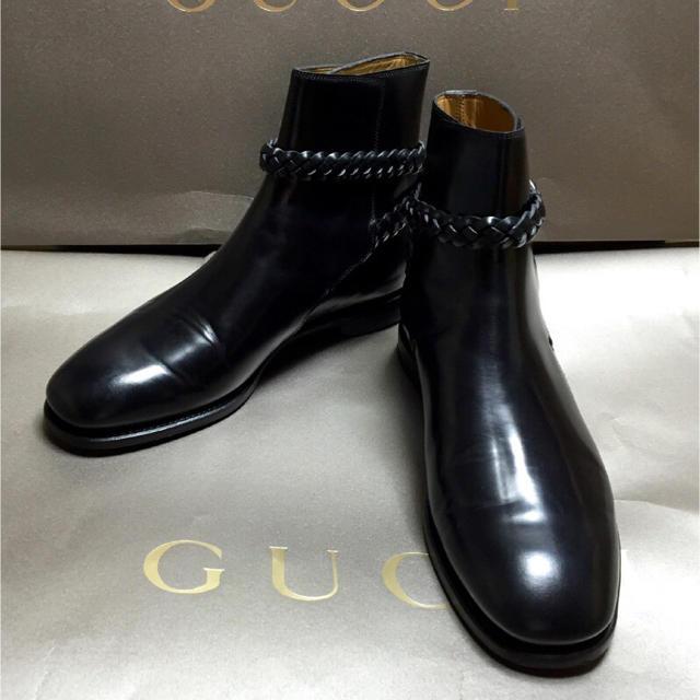 Gucci(グッチ)の送料無料グッチ新品GUCCIレザー ショート ブーツ黒ブラック正規本物 メンズの靴/シューズ(ブーツ)の商品写真