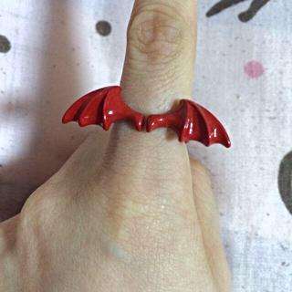 モノマニア(monomania)の値下げ!モノマニア購入悪魔の羽リング 赤(リング(指輪))