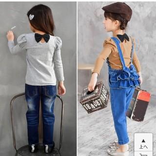 プティマイン(petit main)の後ろリボンロングTシャツ 100cm(Tシャツ/カットソー)