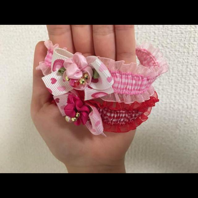 小型犬用 首飾り 赤 ハンドメイドのペット(ペット服/アクセサリー)の商品写真
