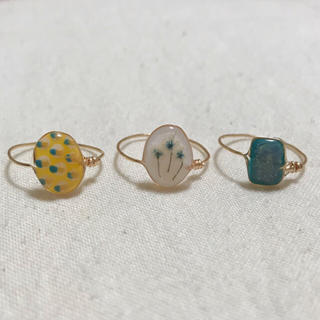 no. 122 ▽dried flower wire ring▽ 3点セット(リング)