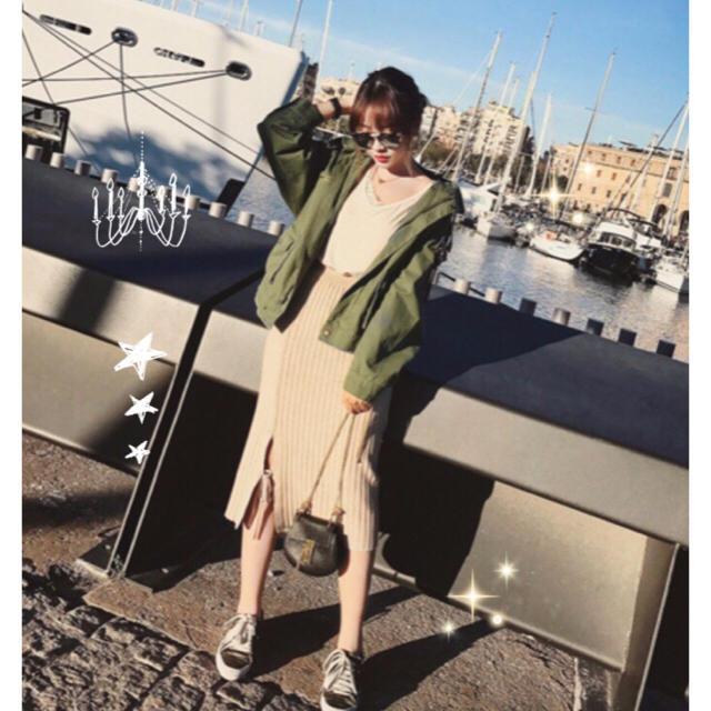 ミモレ丈ロングスカート 新作 秋冬 暖かい セクシー 楽ちんゴム ベージュ レディースのスカート(ひざ丈スカート)の商品写真