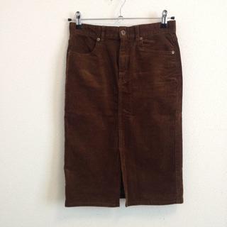 コーデュロイスカート ブラウン GU(ひざ丈スカート)