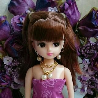 バービー(Barbie)のドール用ハンドメイド♪ピアス、ラリエットセット♪リカちゃん、バービー(ぬいぐるみ/人形)