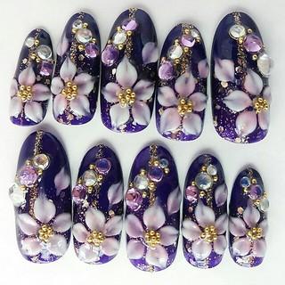 紫桜☆和風成人式ネイル