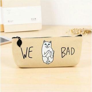 ねこ ネコ 猫ペンケース 猫筆箱 ベージュ♪ 新品未使用品 送料無料(猫)