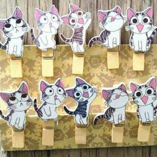 猫 ネコ ねこ 猫木製クリップ 新品未使用品 送料無料(猫)
