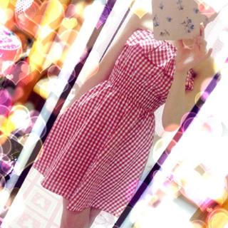バービー(Barbie)のギンガムチェックフリルベアワンピ♡美品(ミニワンピース)