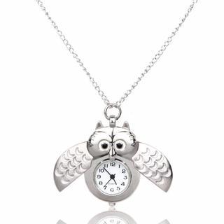 フクロウ ふくろうロングネックレス ペンダント懐中時計 ホワイト♪ 新品未使用品(鳥)