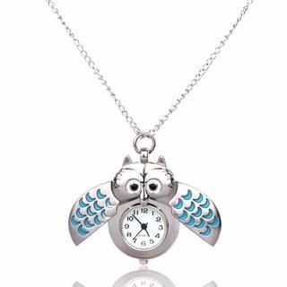 フクロウ ふくろうロングネックレス ペンダント懐中時計 ブルー♪ 新品未使用品 (鳥)