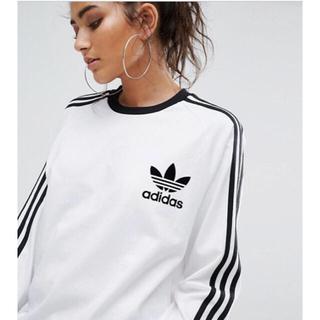 アディダス(adidas)の【 Lサイズ】adidas 新品タグ付  3ストライプ ロングTシャツ ホワイト(Tシャツ(長袖/七分))