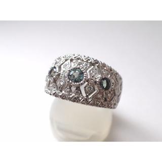 ■マルヨ質舗■Pt900■アレキサンドライト&ダイヤモンドプラチナリング■15号(リング(指輪))