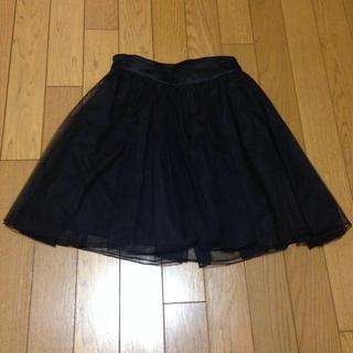 ローリーズファーム(LOWRYS FARM)の夏でも大活躍! 黒色チュールスカート(ミニスカート)