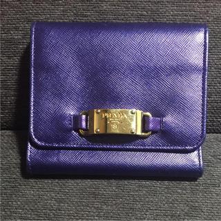 プラダ(PRADA)の【良品】PRADA プラダ  折りたたみ財布 パープル(財布)