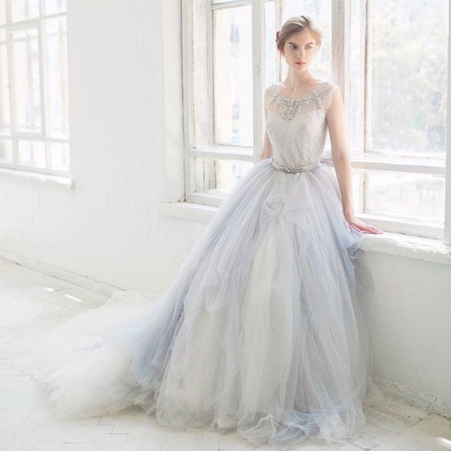 アメリカ流行軽いウェディングドレスグレーチュール二次会ドレス104