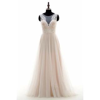 結婚式二次会ワンピースウェディングドレスオフホワイトロングドレス129(ウェディングドレス)