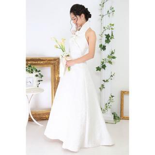 【日本人職人製作】*気品漂うAラインウエディングドレス*ジャケット付き*高級素材(ウェディングドレス)