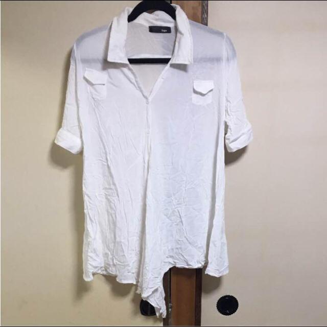 白 シャツ 4way 5分丈 M シワ加工 レディースのトップス(シャツ/ブラウス(半袖/袖なし))の商品写真