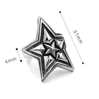 362 星(大)☆着け心地良い!チタンステンレス黒墨コーティングスターリング(リング(指輪))